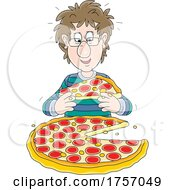Guy Eating A Pizza