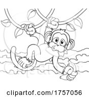 Poster, Art Print Of Monkey Singing On Jungle Vines With Banana Cartoon