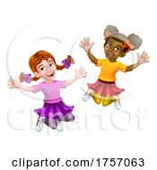 Jumping Girls Kids Children Cartoon by AtStockIllustration