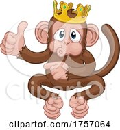 Poster, Art Print Of Monkey King Crown Cartoon Thumbs Up Pointing