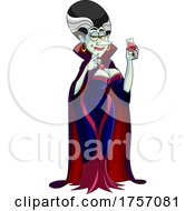 Cartoon Vampire Or Vampiress With A Glass Of Blood