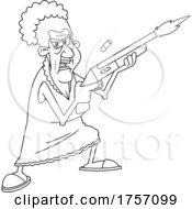 Black And White Cartoon Tough Granny Shoopting A Pump Air Rifle
