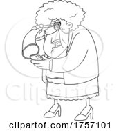 Black And White Cartoon Granny Using A Hearing Trumpet And A Cell Phone