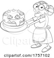 Black And White Cartoon Granny Holding Out A Cake