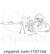 Black And White Cartoon Tough Granny Shoopting A Machine Gun