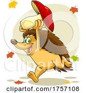 Cartoon Successful Hedgehog Running With A Mushroom In The Fall