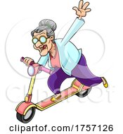 Cartoon Energetic Granny on a Scooter by Hit Toon #COLLC1757126-0037