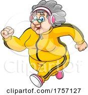 Cartoon Healthy Granny Running