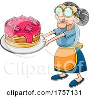 Cartoon Granny Holding out a Cake by Hit Toon #COLLC1757131-0037