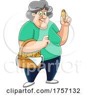 Cartoon Granny With A Basket Of Homemade Chocolate Chip Cookies