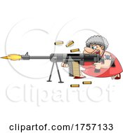 Cartoon Tough Granny Shoopting a Machine Gun by Hit Toon #COLLC1757133-0037