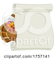 Poster, Art Print Of Turkey Chef Cartoon Character Scroll Sign