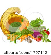 Cornucopia Gold Horn Of Plenty Vegetables Cartoon