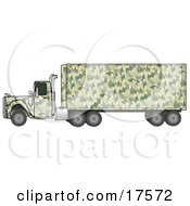Green Camouflage Semi Diesel Truck Pulling A Matching Cargo Trailer