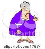 Mean Old Caucasian Lady With Gray Hair Flipping Off The Viewer