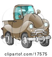 Clipart Illustration Of An Old Brown Pickup Truck