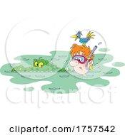 Bird On A Mans Head As Crocodile Swims By by Alex Bannykh