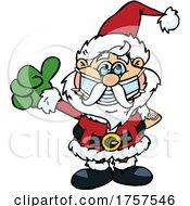 09/27/2021 - Cartoon Masked And Vaccinated Santa Claus Mascot