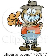 09/27/2021 - Cartoon Masked And Vaccinated Scarecrow Mascot