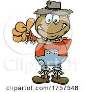 09/27/2021 - Cartoon Scarecrow Giving A Thumb Up
