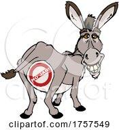 09/27/2021 - Cartoo Donkey Mascot With A No Jab Symbol
