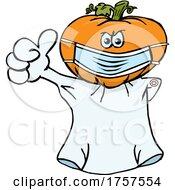 09/27/2021 - Cartoon Masked And Vaccinated Jackolantern Mascot