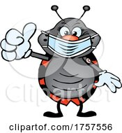 09/27/2021 - Cartoon Masked And Vaccinated Ladybug Mascot
