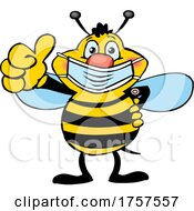 09/27/2021 - Cartoon Masked And Vaccinated Bee Mascot