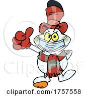 09/27/2021 - Cartoon Masked And Vaccinated Evil Snowman Mascot