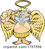 09/27/2021 - Cartoon Masked And Vaccinated Male Angel Mascot