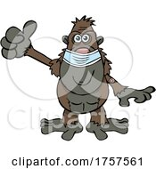 Poster, Art Print Of Cartoon Masked And Vaccinated Ape Mascot