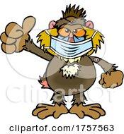 Poster, Art Print Of Cartoon Masked And Vaccinated Baboon Mascot