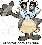 Cartoon Masked And Vaccinated Badger Mascot