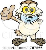 09/27/2021 - Cartoon Masked And Vaccinated Barn Owl Mascot