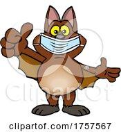 09/27/2021 - Cartoon Masked And Vaccinated Bat Mascot