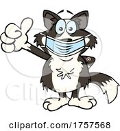 09/27/2021 - Cartoon Masked And Vaccinated Border Collie Mascot