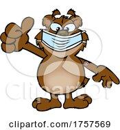 09/27/2021 - Cartoon Masked And Vaccinated Bear Mascot