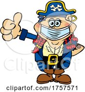 Cartoon Masked And Vaccinated Female Pirate Mascot