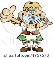 09/27/2021 - Cartoon Masked And Vaccinated German Oktoberfest Woman Mascot