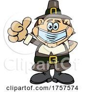 Poster, Art Print Of Cartoon Masked And Vaccinated Pilgrim Mascot