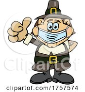 09/27/2021 - Cartoon Masked And Vaccinated Pilgrim Mascot