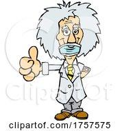 09/27/2021 - Cartoon Masked And Vaccinated Albert Einstein Mascot