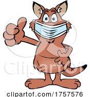 09/27/2021 - Cartoon Masked And Vaccinated Red Kangaroo Mascot
