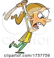 Cartoon Woman Angrily Swinging A Bat by toonaday