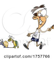 Cartoon Competitive Guy Walking With A Butterfly Tortoise And Snail