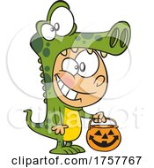 Cartoon Halloween Boy Trick Or Treating In A Crocodile Costume