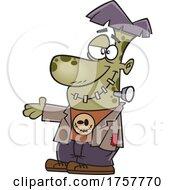 Cartoon Friendly Frankenstein Presenting