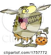 Cartoon Halloween Goblin Trick Or Treating