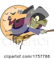 Cartoon Halloween Witch Flying On A Fast Broomstick