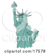 Liberty Enlightening The World Or Statue Of Liberty Holding The Torch Above Her Head